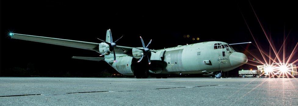 RAF Hercules C-130J preparing to set off on a humanitarian flight to Iraq