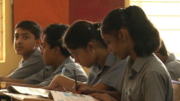 Children learn Sanskrit in classroom