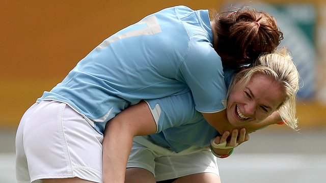 Lynne Cantwell and Niamh Briggs enjoy a light moment during Ireland training on Tuesday