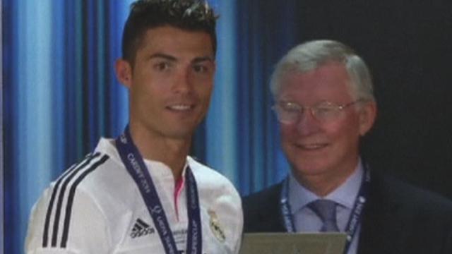 Cristiano Ronaldo and Sir Alex Ferguson reunite in Cardiff