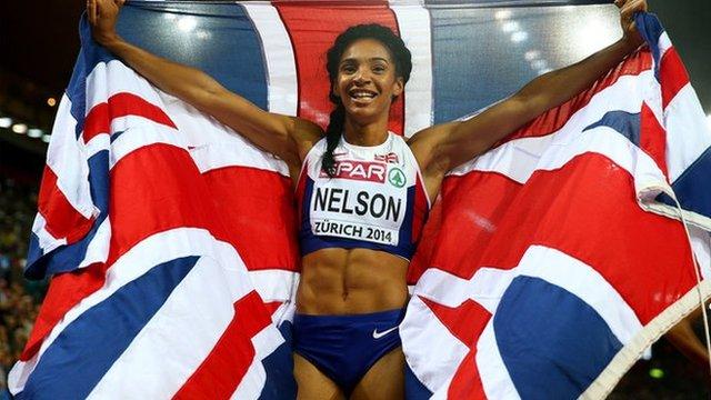 British sprinter Ashleigh Nelson at the 2014 European Athletic Championships in Zurich