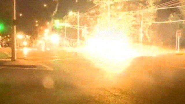 Tear gas on a street