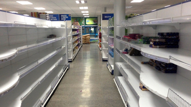 Empty supermarket shelves in Cuba