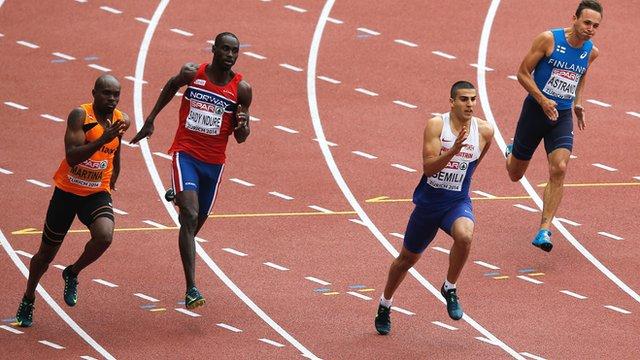 Great Britain's Adam Gemili on his way to winning his 200m heat