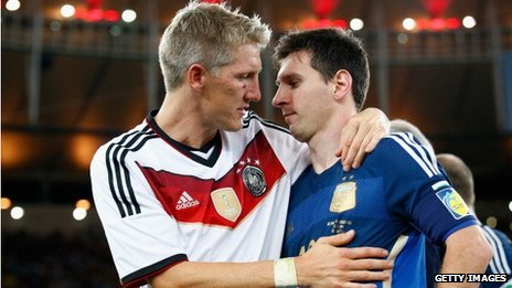 Germany's Bastian Schweinsteiger and Argentina's Lionel Messi