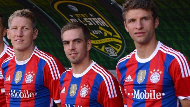 Bayern Munich's World Cup winners Bastian Schweinsteiger, Philipp Lahm and Thomas Muller