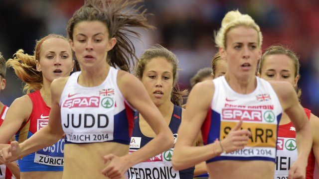 British 800m runners Jess Judd and Lynsey Sharp at the European Athletics Championships in Zurich