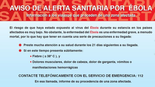 The Spanish health  ministry's Ebola signs in airports
