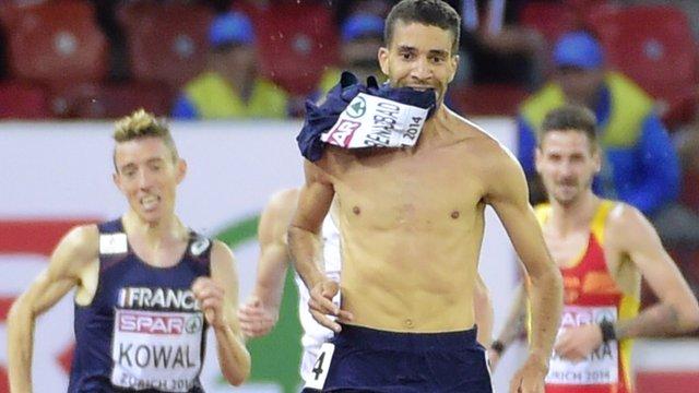 French steeplechaser Mahiedine Mekhissi-Benabbad removes his vest