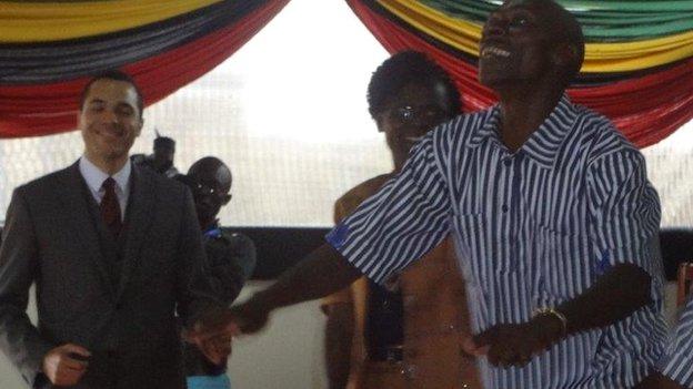Dancing inmates at Peter Ouko's graduation in Kamiti prison in Nairobi, Kenya - Friday 15 August 2014