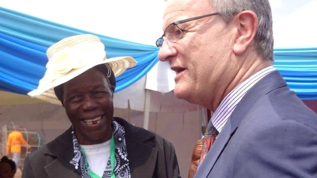 Lorna Ouko, Peter Ouko's mother, and Tony Reilly of the British Council at the graduation ceremony in Kamiti prison in Nairobi, Kenya - Friday 15 August 2014