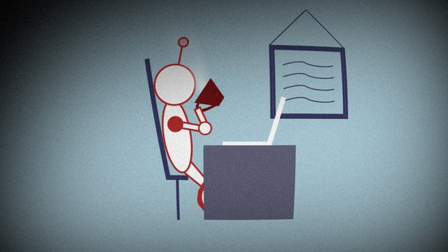Illustration of robot drinking coffee at desk