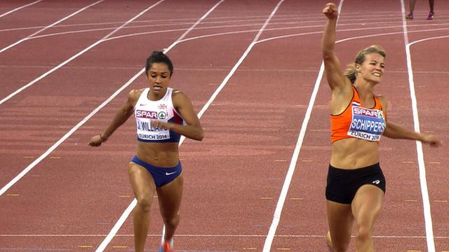 Britain's Jodie Williams finishes second to Dutch sprinter Dafne Schippers