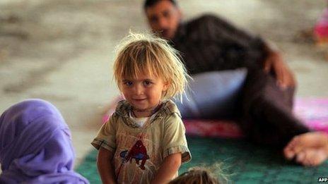 A Yazidi refugee girl in Dohuk, northern Iraq, 16 August