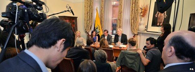 Julian Assange and Ecuador's foreign minister Ricardo Patino