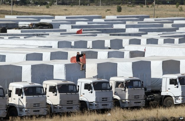 Russian aid lorries parked near Kamensk-Shakhtinsky, Russia, 20 August
