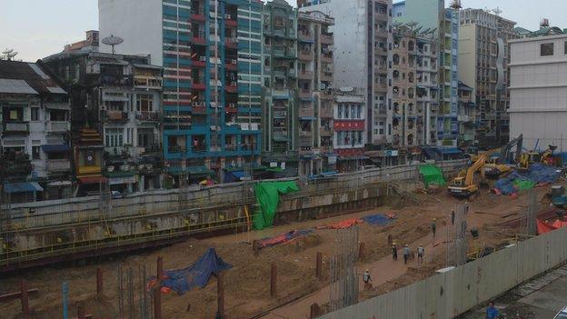 Construction site in Myanmar