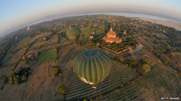 Balloons flying over temples in Bagan