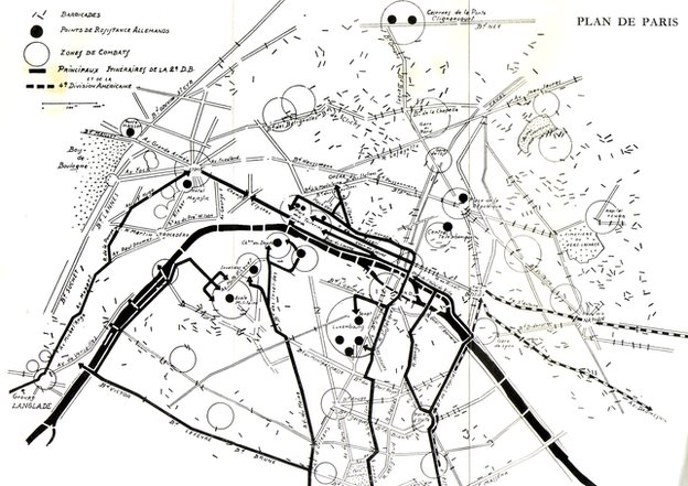 Map of Paris barricades 1944
