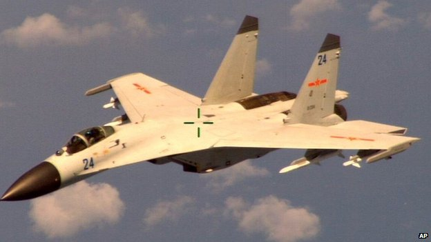 "A Chinese fighter jet that the Obama administration on Friday said conducted a ""dangerous intercept"" of a US Navy surveillance and reconnaissance aircraft off the coast of China in international airspace (19 August 2014)"
