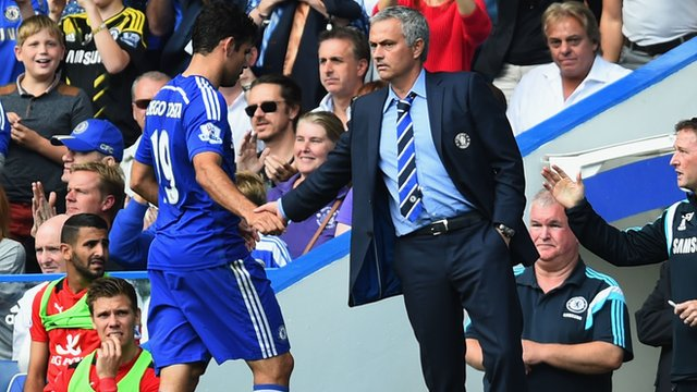 Chelsea manager Jose Mourinho with striker Diego Costa