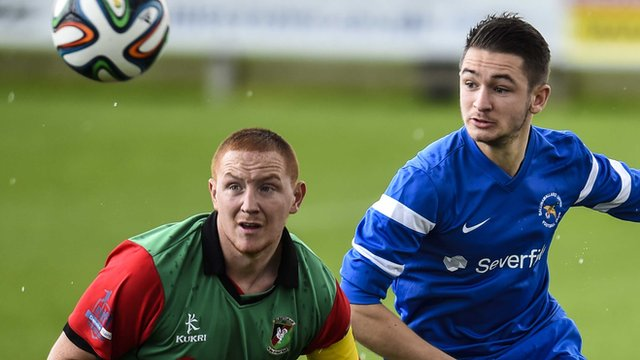 Action from Ballinamallard United against Glentoran at Ferney Park