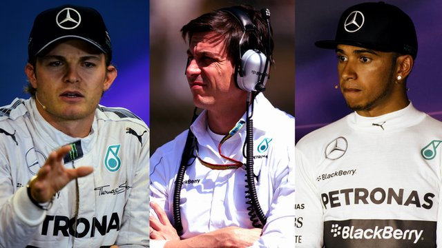 Mercedes' Nico Rosberg, Toto Wolff and Lewis Hamilton