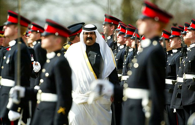 Her Majesty The Queen's Representative His Highness Sheikh Hamad bin Khalifa Al-Thani, The Emir of Qatar inspects soldiers during the 144th Sovereign's Parade held at The Royal Military Academy Sandhurst on April 8, 2004 in Camberley, England. Some 470 Officer cadets took part of which 219 were commissioned into the British Army