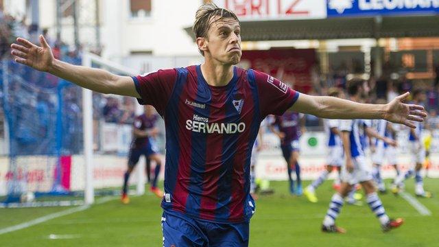 Javier Lara of SD Eibar celebrates after scoring during the La Liga match between SD Eibar and Real Sociedad
