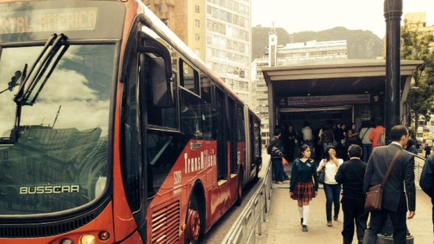 A Transmilenio bus in Bogota, Colombia