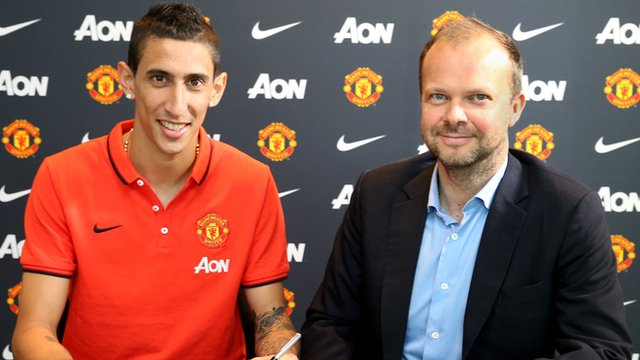 New Manchester United signing Angel Di Maria and Executive Vice-Chairman Ed Woodward