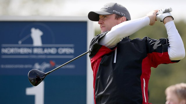 Michael Hoey in action in the Northern Ireland Open pro-am at Galgorm Castle on Wednesday