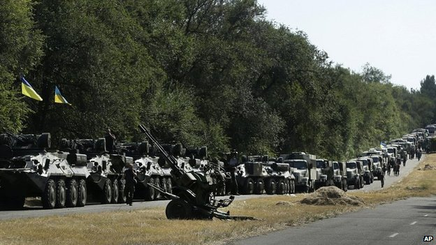 Ukrainian forces prepare for an advance to Mariupol in south-east Ukraine. 27 Aug 2014