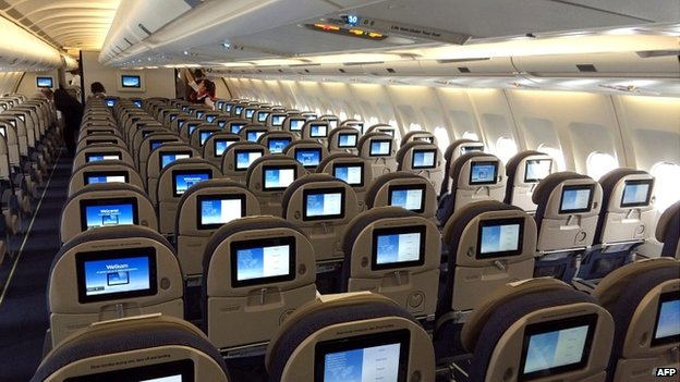The inside of a plane due to fly from Brussels to Liberia's capital Monrovia after Brussels Airlines resumed flights to West Africa - 28 August 2014