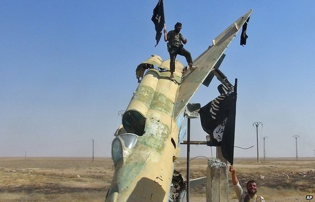 Photo posted by opposition Raqqa Media Center purportedly showing Islamic State fighters at Tabqa airbase (27 August 2014)