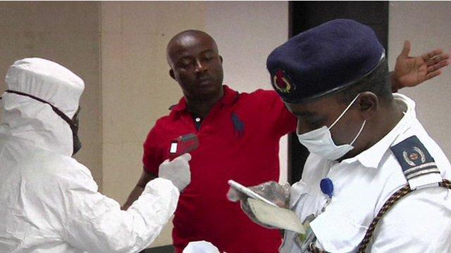 Health screenings at an airport in Nigeria