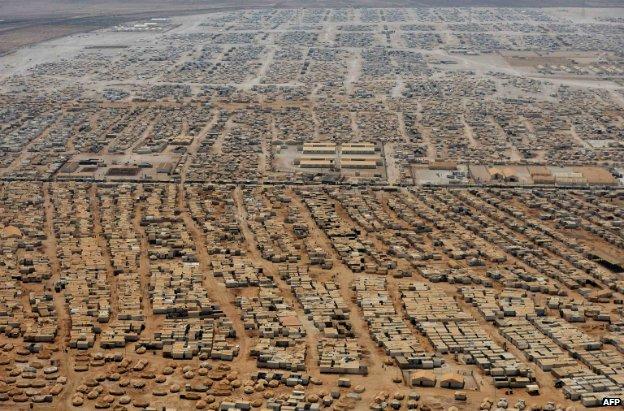 An aerial view shows the Zaatari refugee camp, near the Jordanian city of Mafraq - 18 July 2013