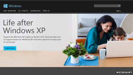 Screen grab of Windows XP webpage