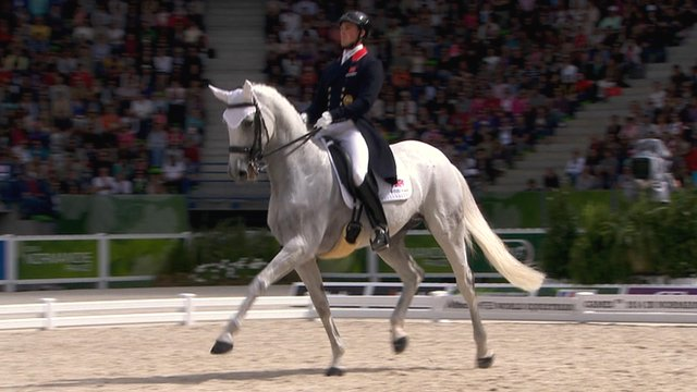 Britain's Michael Eilberg and Half Moon Delphi at the World Equestrian Games