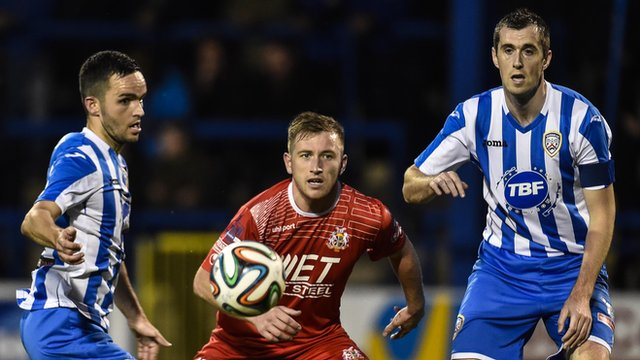Match action from Coleraine against Portadown