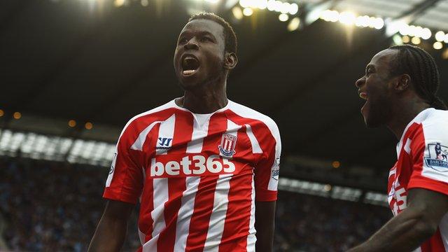 Stoke's Mame Biram Diouf celebrates scoring against Manchester City