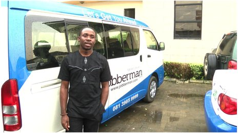 Ayodeji Adewunmi with a Jobberman van