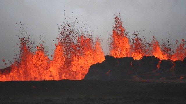 Lava spouts from the Bardarbunga volcano