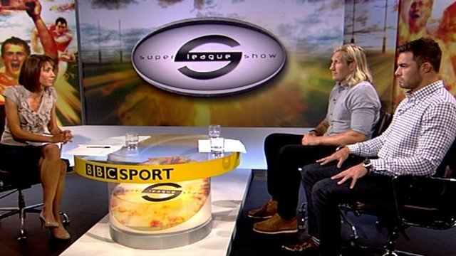 BBC's Super League Show host Tanya Arnold with Eorl Crabtree (centre) and Mark Flanagan