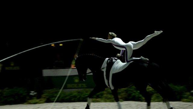 Horse vaulting Scot defending gold