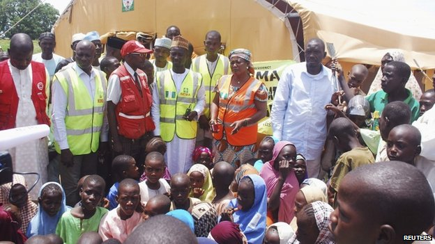 Refugees gather in an internally displaced persons (IDP) camp in Nigeria (1 September 2014)