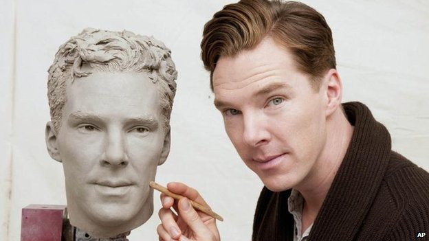 Benedict Cumberbatch posing during the second sitting of his Madame Tussauds wax figure.