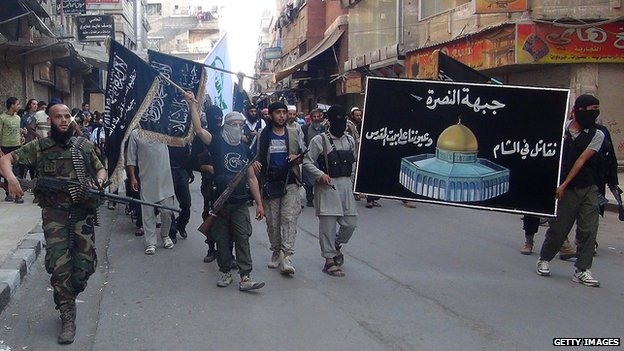 Islamic fighters from the al-Qaeda group in the Levant, al-Nusra Front in Yarmuk Palestinian refugee camp, south of Damascus