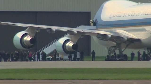 President Obama leaving Air Force One