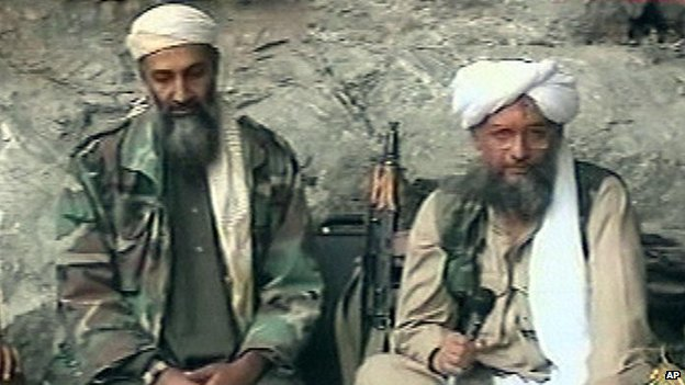 Ayman al-Zawahiri (right) with Osama bin Laden in 2001